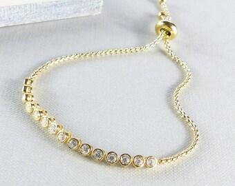 Gold And Crystal Slider Friendship Bracelet