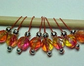 Arizona Sunrise Stitch Markers on Tangerine Wire -  US 5 - Item No. 443