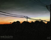 Sunset Power Lines - Original sunset night oil painting by Harry Boardman
