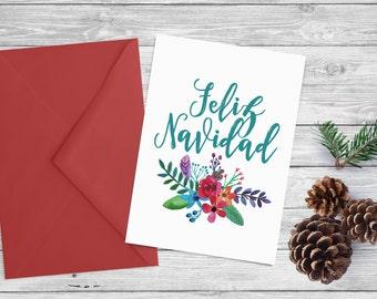 Printable Christmas card - Instant download  - 5x7 printable holiday card - Feliz Navidad watercolor flowers