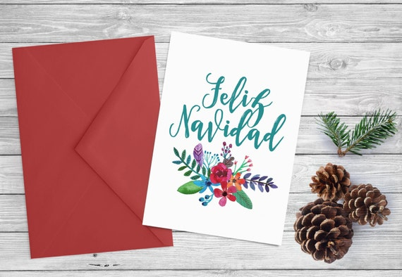 Printable Christmas card - Instant download  - 5x7 printable holiday card - Feliz Navidad watercolor flowers