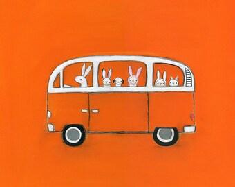 orange VW | print