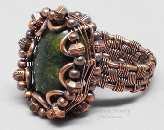 Russian Serpentine and Copper Wire Wrapped Ring