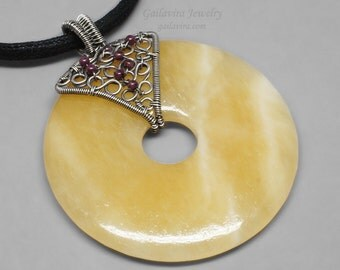 Yellow Calcite Donut, Garnet and Sterling Silver Necklace Pendant