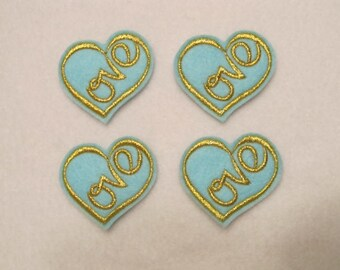 4 Felt LOVE HEART 2 Applique Embellishments style M