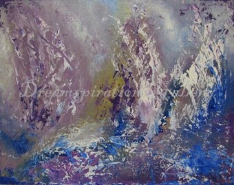 Sails - ORIGINAL - Abstract - 11x14 - Painting - Acrylic - Canvas board - purple - blue - white - yellow