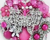 Half Off Sale Hand Mirror - Wings of Hope - Repurposed Jewelry - M001051