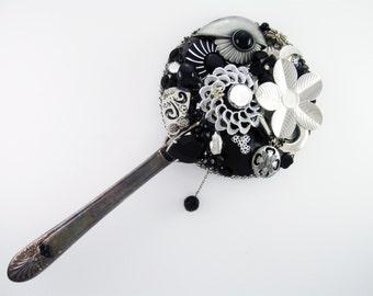 55% OFF SALE! - Hand Mirror - Repurposed Jewelry - Moonlit Garden