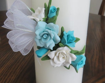 Candle decorated with Cold Porcelain Flowers