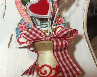 Vintage Valentine spool decoration