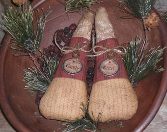 2  Primitive Whimsical Rustic Fall Seasonal Halloween Candy Corn Bowl Fillers Ornies Ornaments Shelf Sitters Tucks
