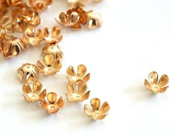 50pcs KC Golden Six Leaf Flower Bead Caps M008-02RG