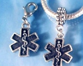 Star of Life Medical Charms 316L Navel Belly Ring or Slide On or Clip On Fits All Bracelets Diabetes