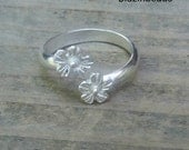 Toe Ring Sterling Silver Toe Ring with  Sterling Silver  Flowers