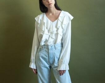 RESERVED. white ruffle collar blouse / romantic blouse / poet blouse / s / m / 1801t / B18