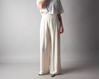 jamaica inn wide fluid crepe trousers / wide leg trousers / 80s pants / m / 1405t