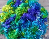 ON SALE MERMAID Teeswater Long Locks 2.5 oz Chartreuse, Turquoise, Violet to Spin, Blend, Card, Doll Hair, Fiber Art