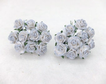 20 white grey blue mulberry paper roses (15mm)