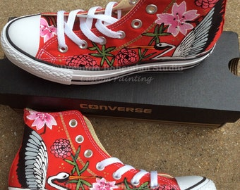 Hi Top Sneakers, HandPainted Converse, Converse High Tops, Japanese Tattoo, Painted Sneakers, Cherry Blossoms, Stork, Asian Design, Converse