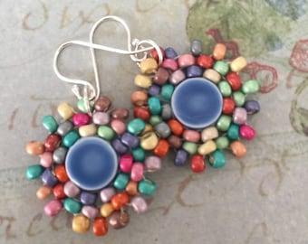 Small Blue Dangle Earrings  Small Seed Bead Earrings