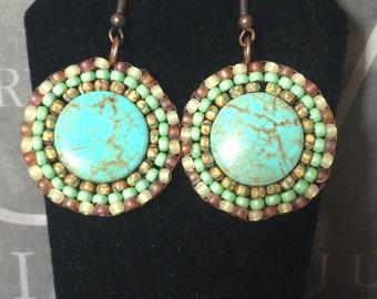 Beaded Earrings - African Turquoise Seed Bead Disc Earrings - Handmade Beadwork Jewelry