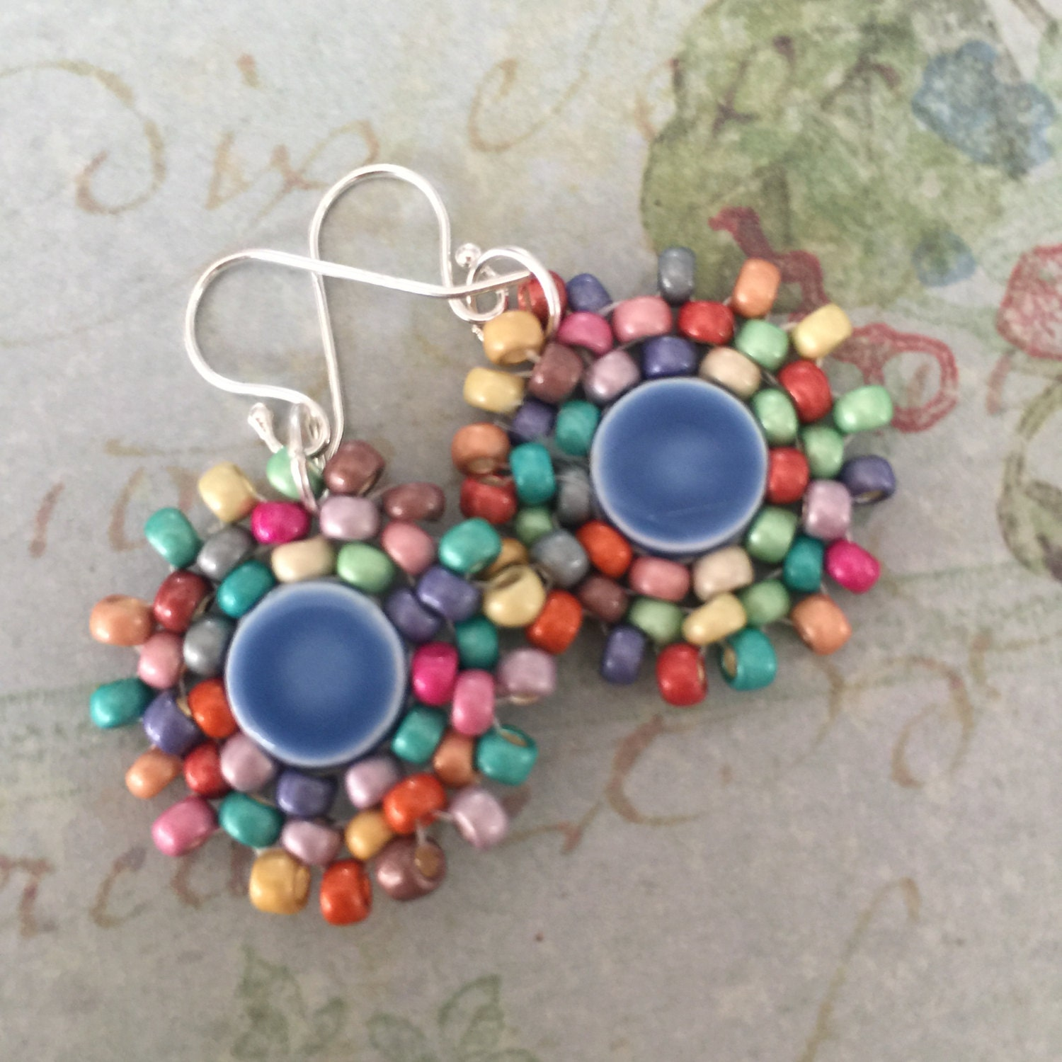 Small Blue Earrings: Small Blue Dangle Earrings Small Seed Bead Earrings
