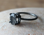Unique Faceted Black Tourmalinated Quartz Stacking Ring 8x10 mm, Legendary Prong Set, Sterling Silver Gemstone, Size 2 to 15, Natural Stone