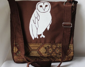 Owl Messenger Bag Brown W Earth Tones 12 x 12