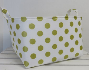 SALE / CLEARANCE - Gold Metallic Dots on White - Large Diaper Caddy Storage Container Basket Organizer Bin - Nursery Decor - 1 Divider