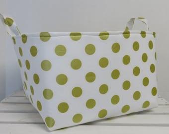 Gold Metallic Dots on White - Large Diaper Caddy Storage Container Basket Organizer Bin - Nursery Decor - 1 Divider