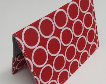 Passport Cover Case Holder Vacation Cruise Travel Holiday - Travel - White Circles on Red Fabric