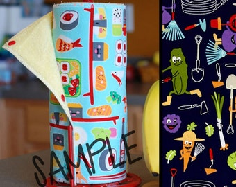 Unpaper Towel | Reusable Paper Towel - Silly Veggies (0449310) Tree Saver Towel | Kitchen Towel | Snapping Cloth Paperless Towel & Wet Bag