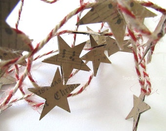 Music Paper Star Garland Christmas Tree Decor 8'