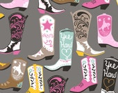 Luckie by Maude Asbury - Cowboy Boots on Grey - Square Dance Collection - Blend Fabrics - One Yard Quilting Fabric