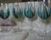 Wine glass/goblet Handpainted,  Turquoise and Brown