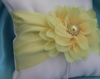 Cream or White Ring Bearer Pillow Chiffon Flower with Soft Yellow Satin Ribbons and Light Yellow Flower with Rhinestones