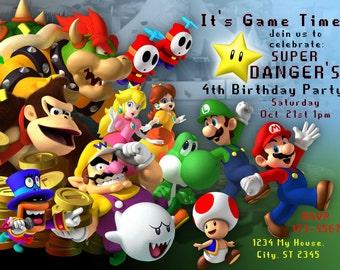 Super Mario Bros. Inspired Personalized Birthday Party DIY Printable Invitation