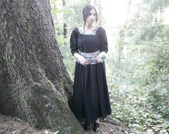 "Black Wool Skirt with Apron Size Medium 30"" Waist"