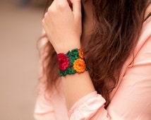 Rajasthan Bracelet. Indian Embroidered Bracelet. Ethnic Bracelet. Boho Style Bracelet. Rajasthan Jewelry. Cuff Bracelet. Fabric Bracelet