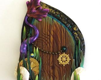 Mermaid Tail Fairy Door, Miniature Door, Purple Mermaid Tail