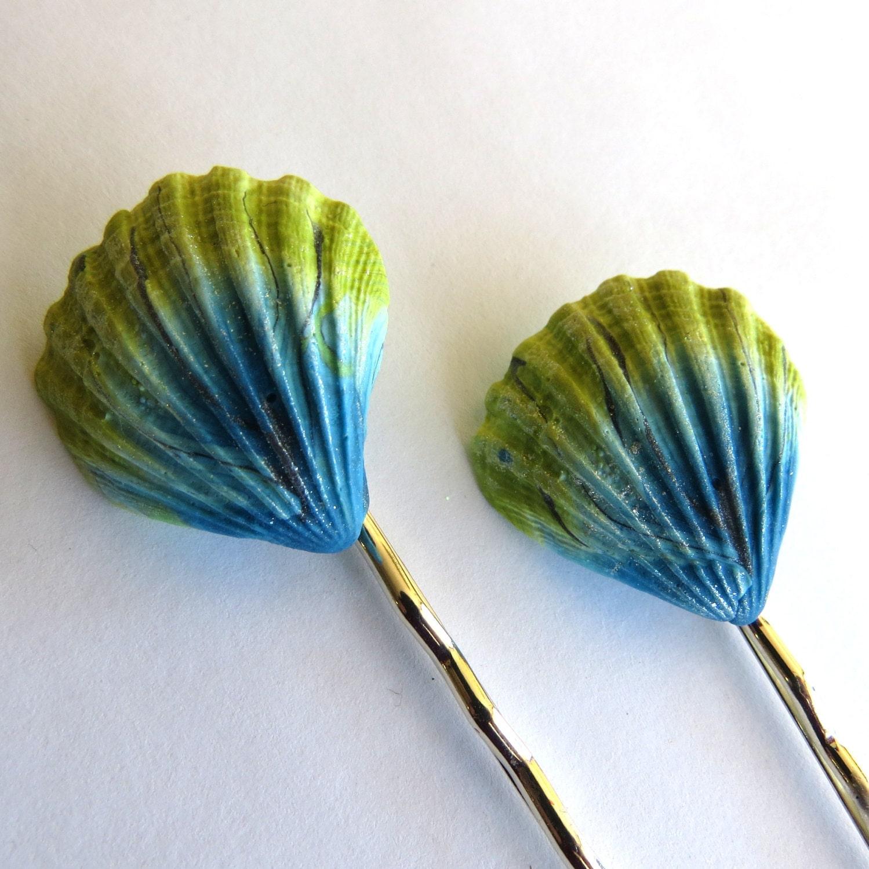 Seashell hair pins polymer clay beach hair accessories bobby for Seashells for hair