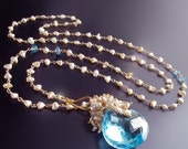 RESERVED for S - 14k Swiss Blue Topaz and Japanese Saltwater Keishi Pearl Necklace