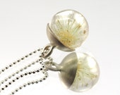 Mini Dandelion Necklace, Sterling Silver Pendant, Resin Jewellery,