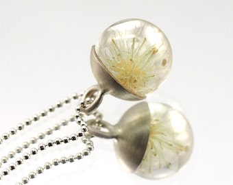 Mini Dandelion Necklace, Sterling Silver Pendant, Resin Jewellery,