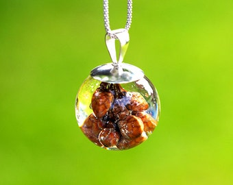 Necklace with Cherry Buds, Sterling Silver Pendant, Resin Jewellery
