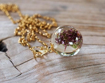 Necklace with Basil, Gold Plated Silver Necklace, Nature Pendant, Resin Jewelry