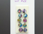 Dichroic Glass Cabs - Lot of 10 Small - Lot number 28 - Mismatched