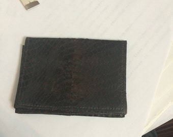 Brown authentic Snakeskin Bifold Business Card I.D. Holder Credit Card Case