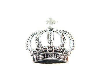 Rhodium Plated Imperial Crown Pendants (4X) (M624-B)