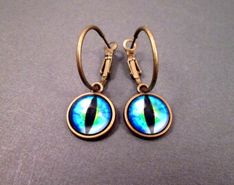Brass Hoop Earrings, Eye See You, Bright Blue Cat Eye Earrings, Lever Back Dangle Hoop Earrings, FREE Shipping U.S.
